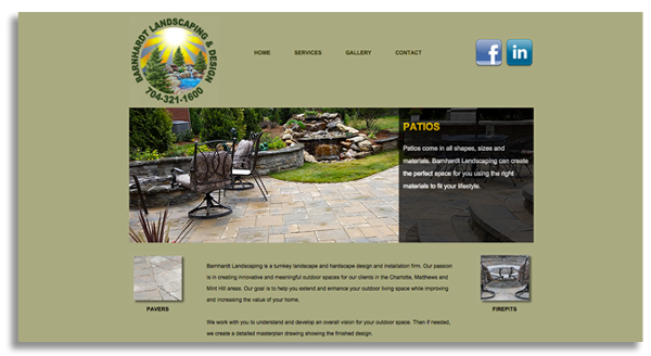 Barnhardt Landscaping website created by AST Studio